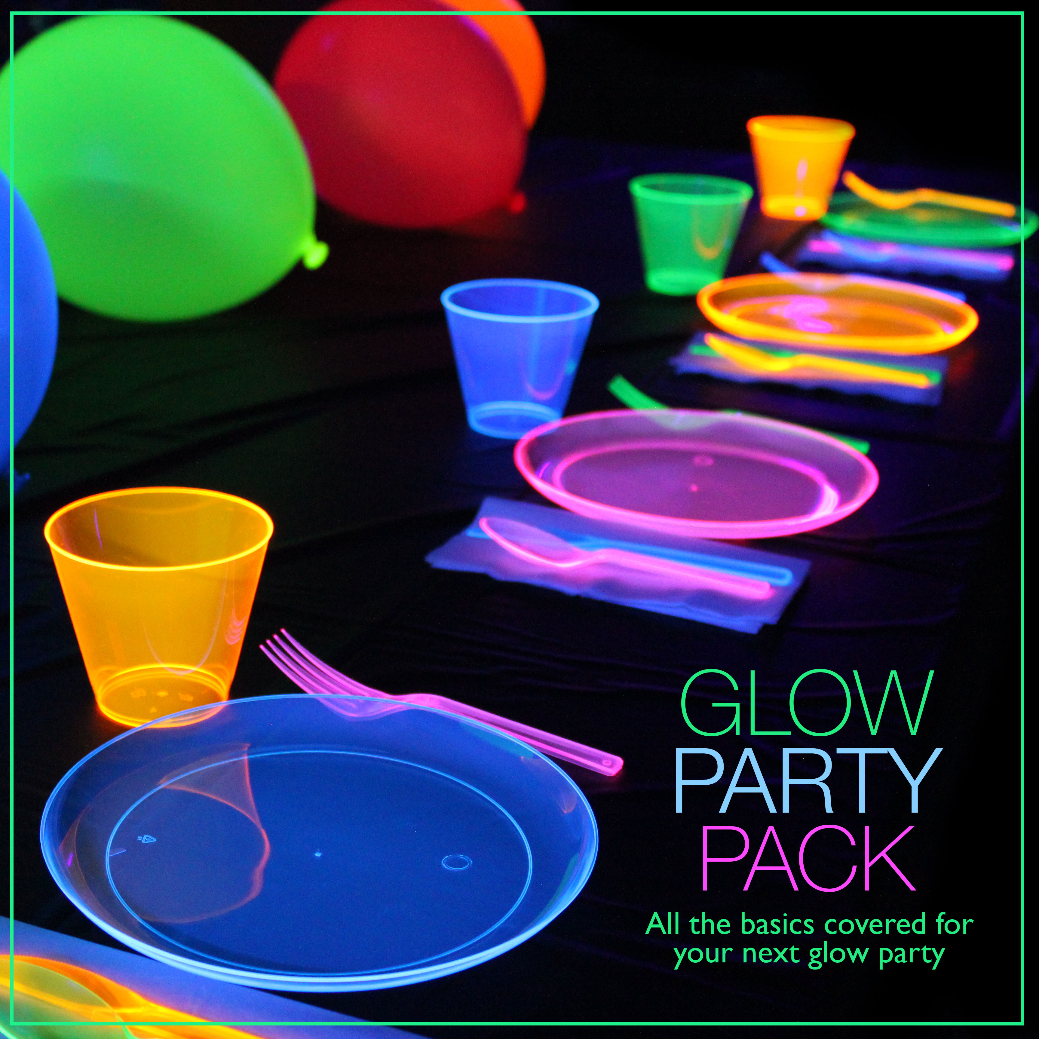 glow party pack glow in the dark party ideas. Black Bedroom Furniture Sets. Home Design Ideas